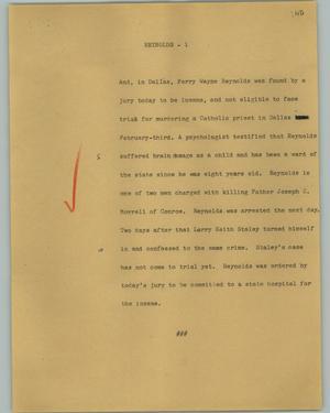 Primary view of object titled '[News Script: Reynolds]'.