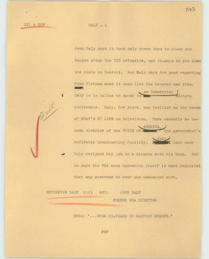 Primary view of object titled '[News Script: Daly]'.