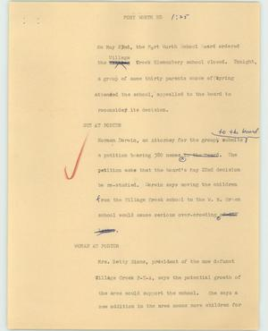 Primary view of object titled '[News Script: Fort Worth End]'.