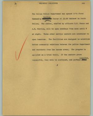 Primary view of object titled '[News Script: Friendly policemen]'.