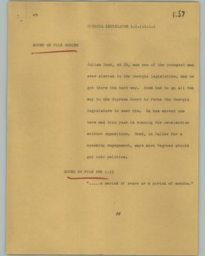 Primary view of object titled '[News Script: Georgia legislator]'.