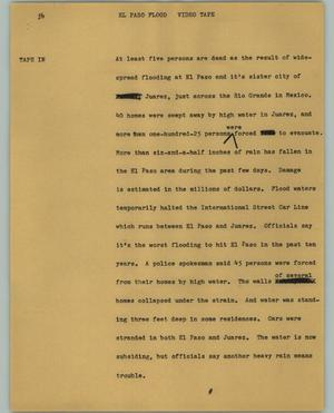 Primary view of object titled '[News Script: El Paso Flood]'.