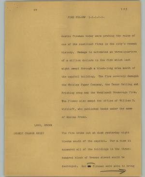 Primary view of object titled '[News Script: Fire follow]'.