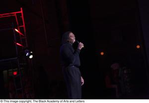 Primary view of object titled '[Curtis King speaking at Aretha: The Musical]'.