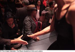 Primary view of object titled '[Audience member shaking hands with performer]'.