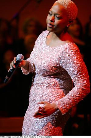 Primary view of object titled '[Chrisette Michele singing]'.