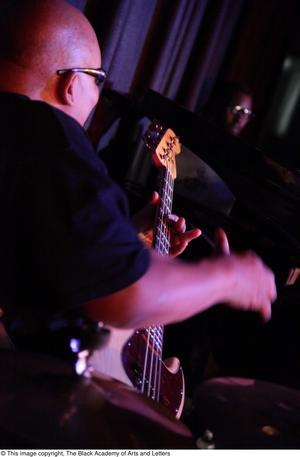 Primary view of object titled '[Bassist on stage]'.
