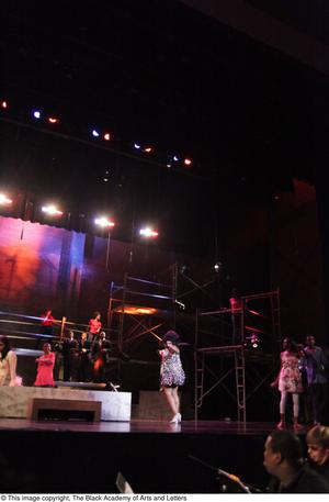 Primary view of object titled '[Ensemble performs in Aretha: The Musical]'.