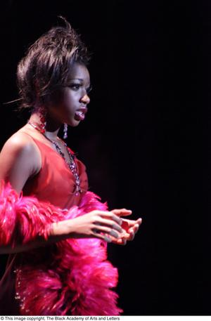 Primary view of object titled '[Actress performs in Aretha: The Musical]'.