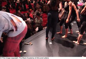 Primary view of object titled '[Performers Engaging with Audience]'.