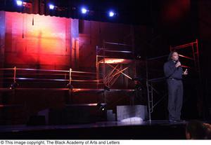 Primary view of object titled '[Curtis King onstage at Aretha: The Musical]'.