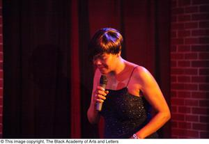 Primary view of object titled '[Singer in sparkly dress]'.