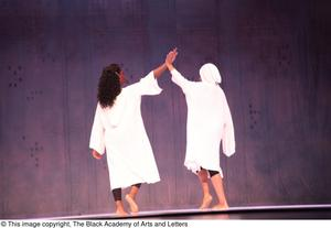 Primary view of object titled '[Duet dancers in white on stage]'.
