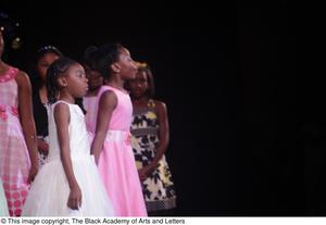 Primary view of object titled '[Young actresses perform in Aretha: The Musical]'.