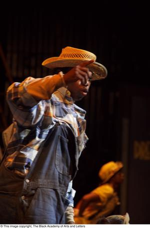 Primary view of object titled '[Cowboy performer on stage]'.