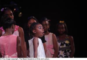 Primary view of object titled '[Young girl performs at Aretha: The Musical]'.