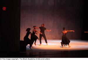 Primary view of object titled '[Ensemble in black dancing]'.