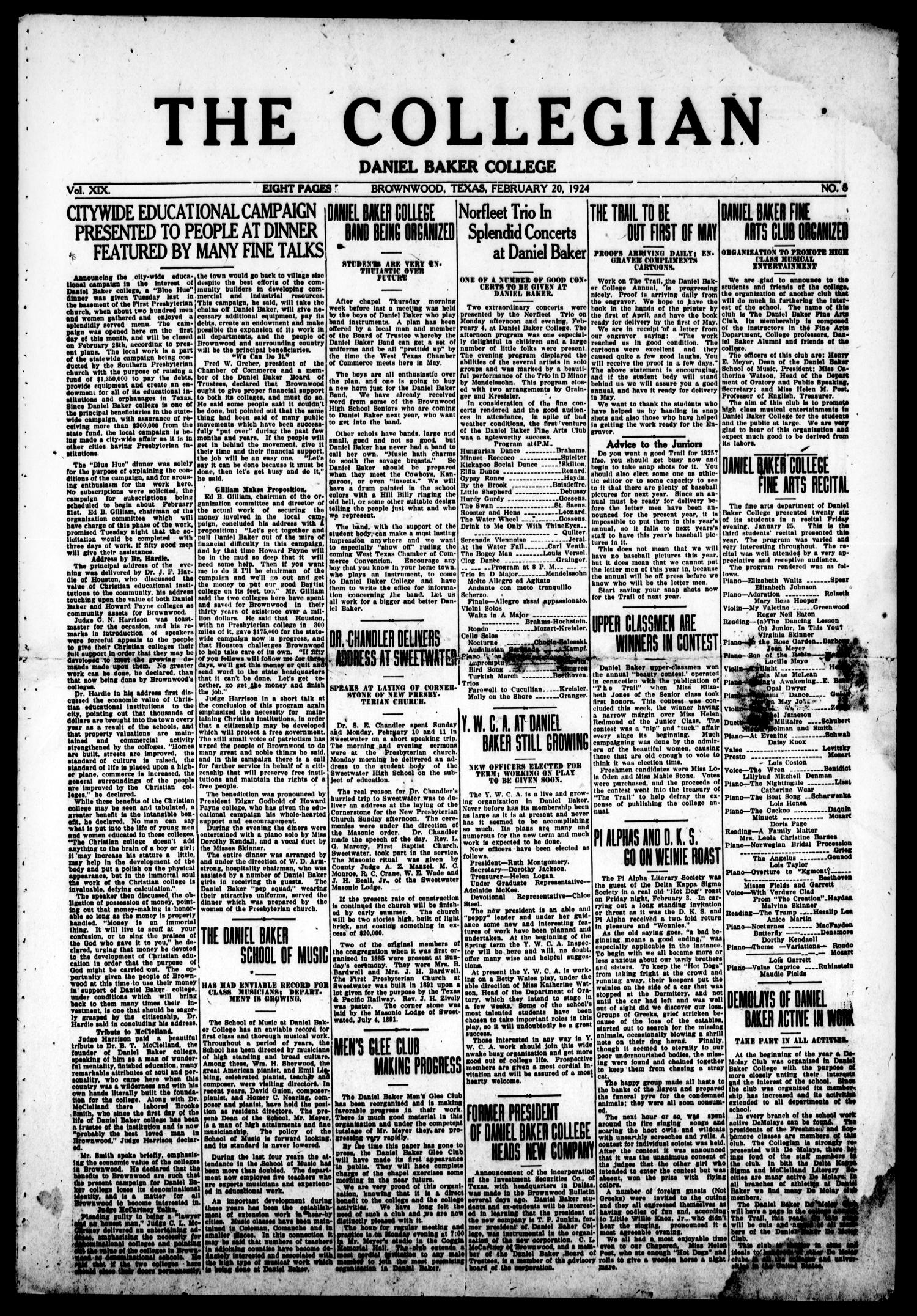 The Collegian (Brownwood, Tex.), Vol. 19, No. 8, Ed. 1, Wednesday, February 20, 1924                                                                                                      [Sequence #]: 1 of 8