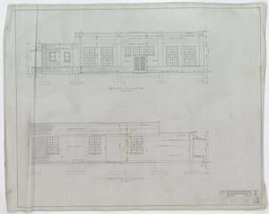 Ice Plant, Abilene, Texas: South & North Elevations, Ice Plant for the Independent Ice and Refrigerating Company, Abilene, Texas: Sheet 5, Ice Plant, Abilene, Texas, Commercial Buildings