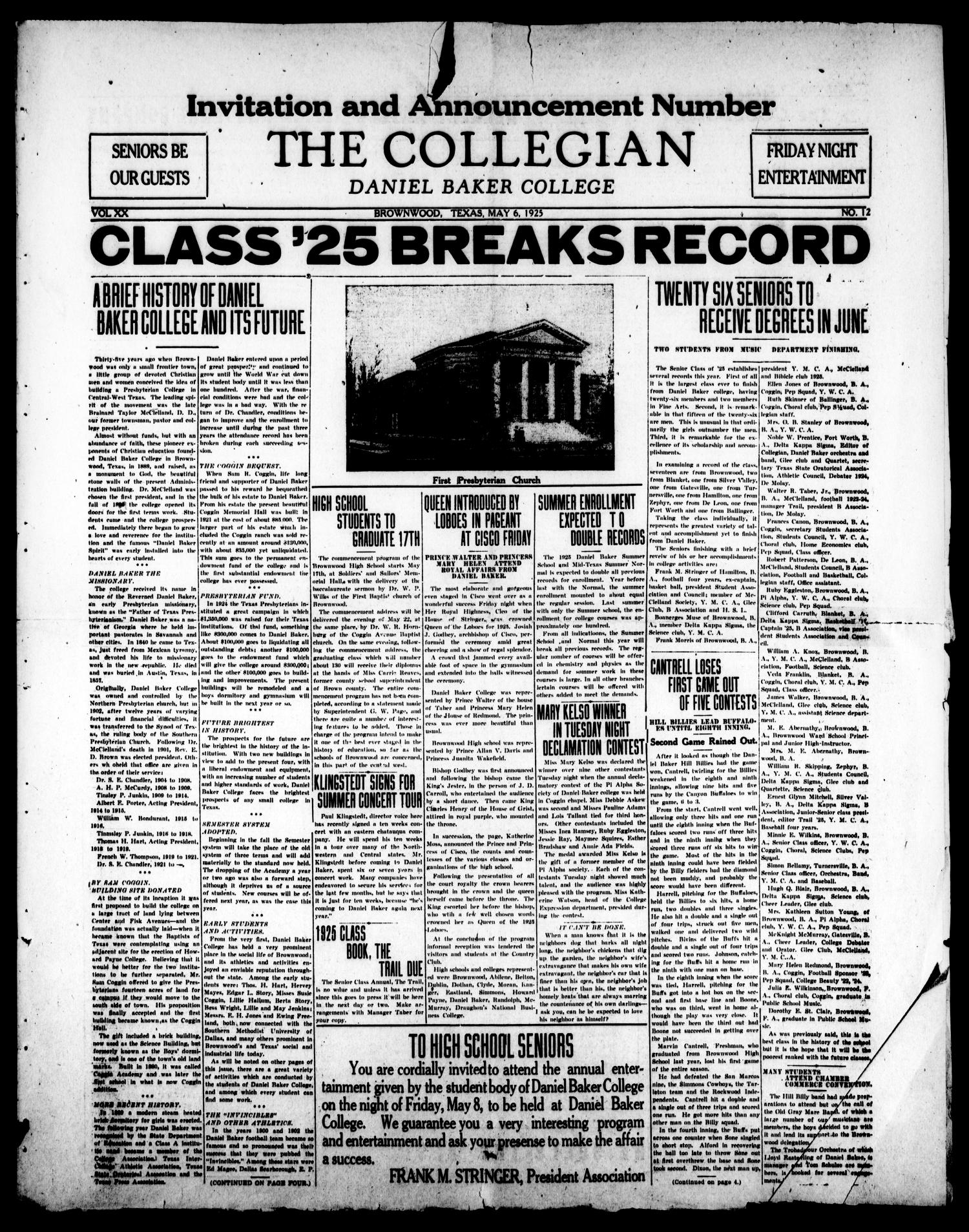 The Collegian (Brownwood, Tex.), Vol. 20, No. 12, Ed. 1, Wednesday, May 6, 1925                                                                                                      [Sequence #]: 1 of 4