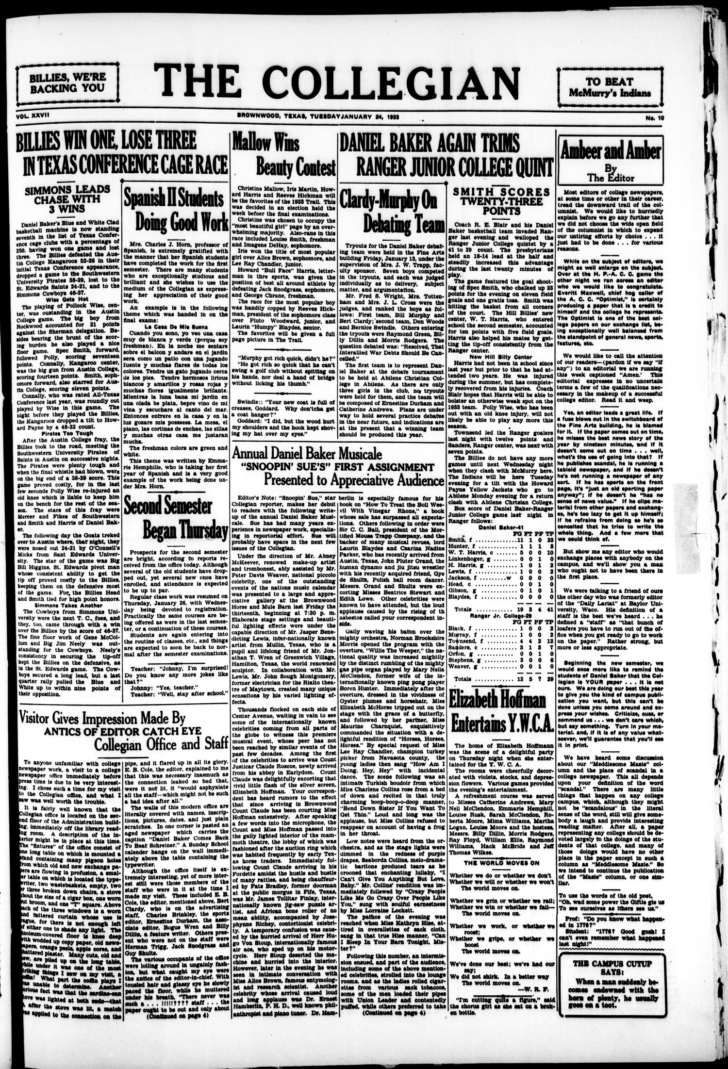 The Collegian (Brownwood, Tex.), Vol. 27, No. 10, Ed. 1, Tuesday, January 24, 1933                                                                                                      [Sequence #]: 1 of 4