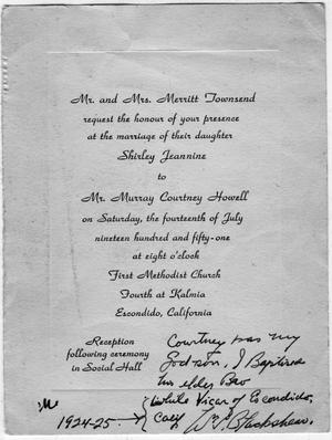 [Wedding Invitation for Shirley Townsend and Mr. Murray Courtney Howell]