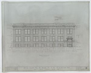 Prairie Oil and Gas Company Office Building, Eastland, Texas: Front Elevation, Office Building for the Prairie Oil and Gas Co. at Eastland, Texas: Sheet 9, Prairie Oil and Gas Company Office, Eastland, Texas, Office Buildings, Commercial Buildings