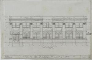 F & M State Bank, Ranger, Texas: Side Elevation, Plans For The New F & M State Bank Building, Ranger, Texas: Sheet 5, F & M State Bank, Ranger, Texas, Commercial Buildings