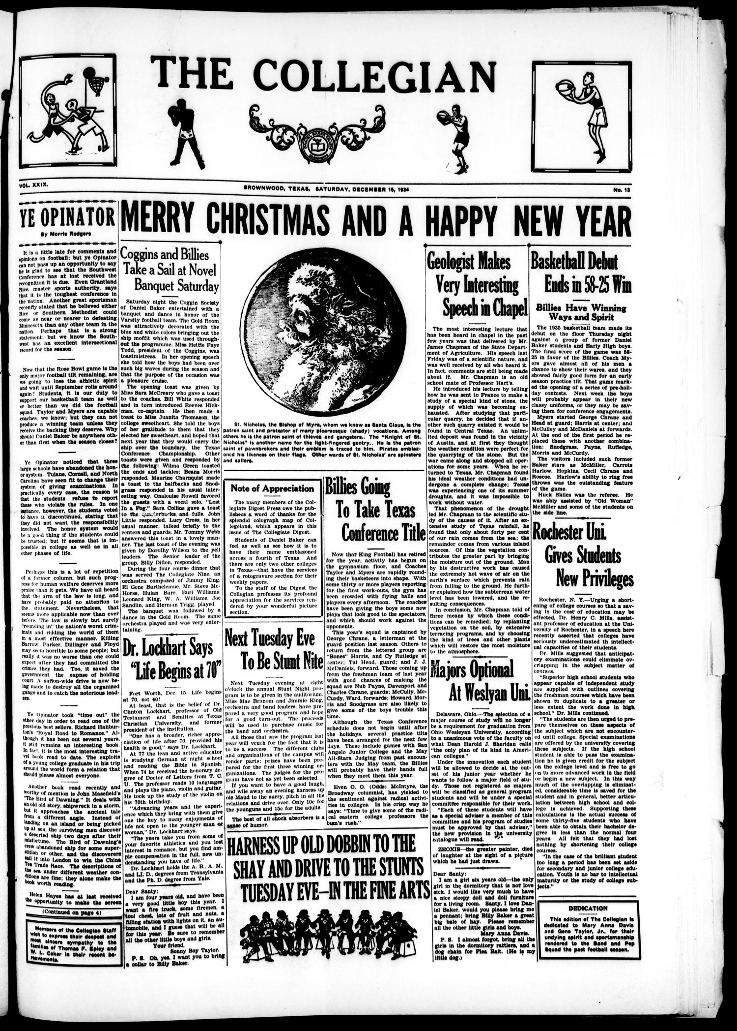 The Collegian (Brownwood, Tex.), Vol. 29, No. 13, Ed. 1, Saturday, December 15, 1934                                                                                                      [Sequence #]: 1 of 4