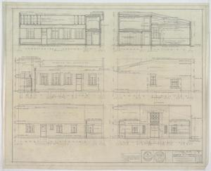 Funeral Home, Merrel, Texas: Elevation Renderings, A Funeral Home For A. B. Barrow & A. T. Sheppard, Merrel, Texas: Sheet 3, Funeral Home, Merrel, Texas, Commercial Buildings