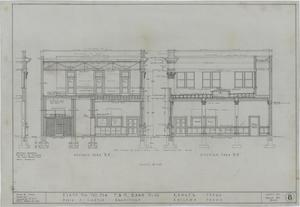 F & M State Bank, Ranger, Texas: Elevation Renderings, Plans For The New F & M State Bank Building, Ranger, Texas: Sheet 8, F & M State Bank, Ranger, Texas, Commercial Buildings