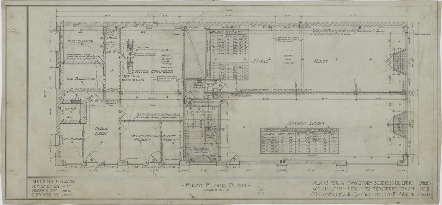 Two Story Business Building Abilene Texas First Floor Plan The Portal To Texas History