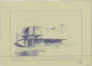 Primary view of object titled 'Drug Store, Odessa, Texas: Outside Entrance Rendering'.