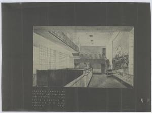 Primary view of object titled 'First National Bank, Throckmorton, Texas: Inside Rendering'.