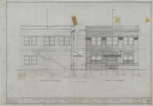 F & M State Bank, Ranger, Texas: Rear & Front Elevations, Plans For The New F & M State Bank Building, Ranger, Texas: Sheet 6, F & M State Bank, Ranger, Texas, Commercial Buildings