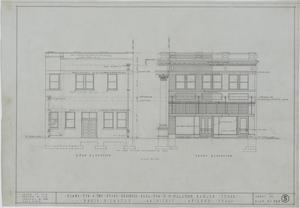 Two Story Business Building, Ranger, Texas: Rear & Front Elevation, Plans For A Two Story Business Building For Mr. M. H. Hagaman, Ranger, Texas: Sheet 5, Commercial Buildings
