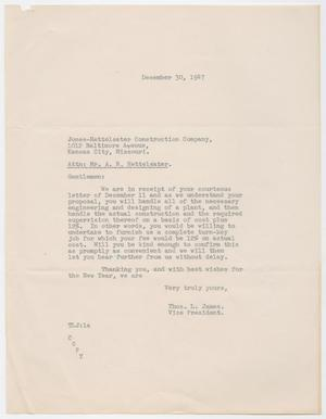 Primary view of object titled 'Letter from Thos. L. James to Jones-Hettelsater Construction Company, December 30, 1947'.