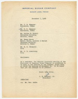 Primary view of object titled 'Letter from I. H. Kempner, Jr., to Directors of Imperial Sugar Company, December 7, 1948'.
