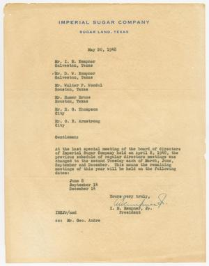 Primary view of object titled '[Letter from I. H. Kempner, Jr., to Directors of Imperial Sugar Company, May 20, 1948]'.