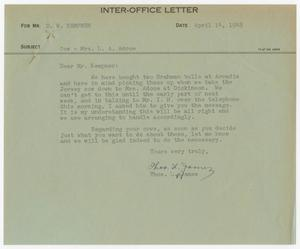 Primary view of object titled '[Letter from Thos. L. James to D. W. Kempner, April 14, 1948]'.