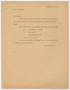 Primary view of object titled 'Letter from D. W. Kempner to W. B. Keyser, November 12, 1947'.