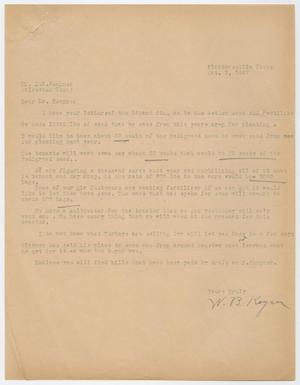 Primary view of object titled 'Letter from W. B. Keyser to D. W. Kempner, October 7, 1947'.