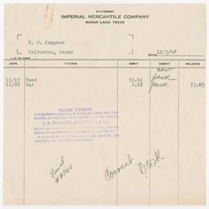 Primary view of object titled '[Invoice for Feed and Gas]'.