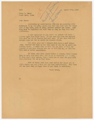 Letter from D. W. Kempner to Thos. L. James, April 27, 1948