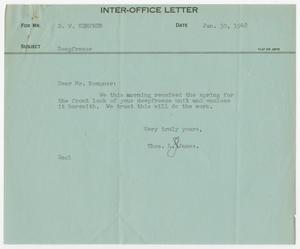 Primary view of object titled 'Letter from Thos. L. James to D. W. Kempner, January 30, 1948'.
