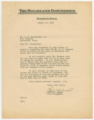 Primary view of object titled '[Letter from Thos. L. James to A. H. Blackshear, August 19, 1948]'.