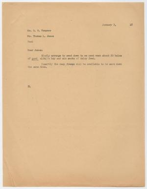 Primary view of object titled 'Letter from D. W. Kempner to Thomas L. James, January 3, 1948'.