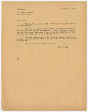 Primary view of object titled '[Letter from D. W. Kempner to Thomas L. James, January 9, 1948]'.
