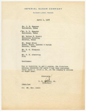 Primary view of object titled 'Letter from I. H. Kempner, Jr., to Directors of Imperial Sugar Company, April 1, 1948'.