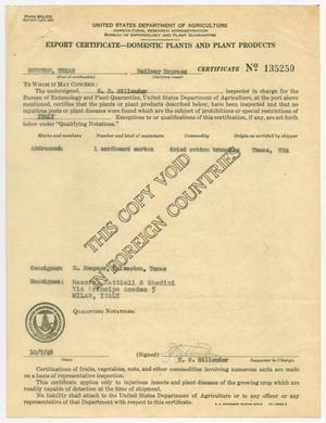 Primary view of object titled '[Export Certificate to Italy]'.